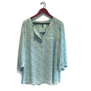 NYDJ, Parisian themed blouse, 2X, light green